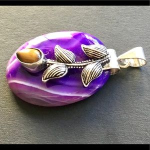 Purple Banded Botswana Agate + Tiger Eye Pendant